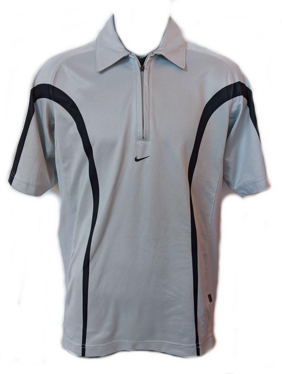 Vintage Y2K Classic Nike Logo Grey Drifit Zip Up Sports T-Shirt