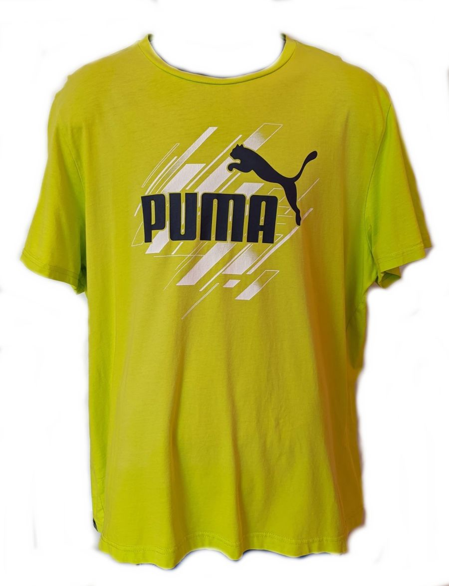 Vintage 90s Lime Green Classic Logo Puma Sports T-Shirt