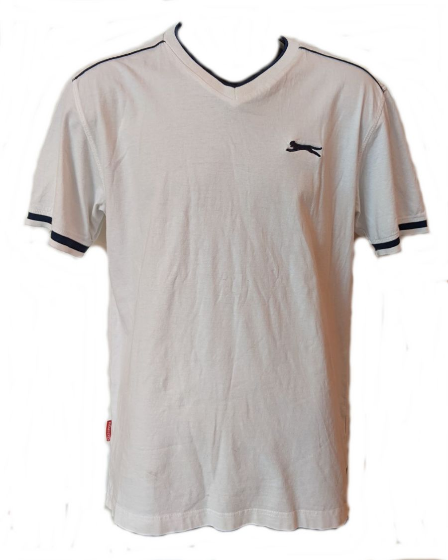 Vintage 90s White Slazenger V Neck Sports T-Shirt