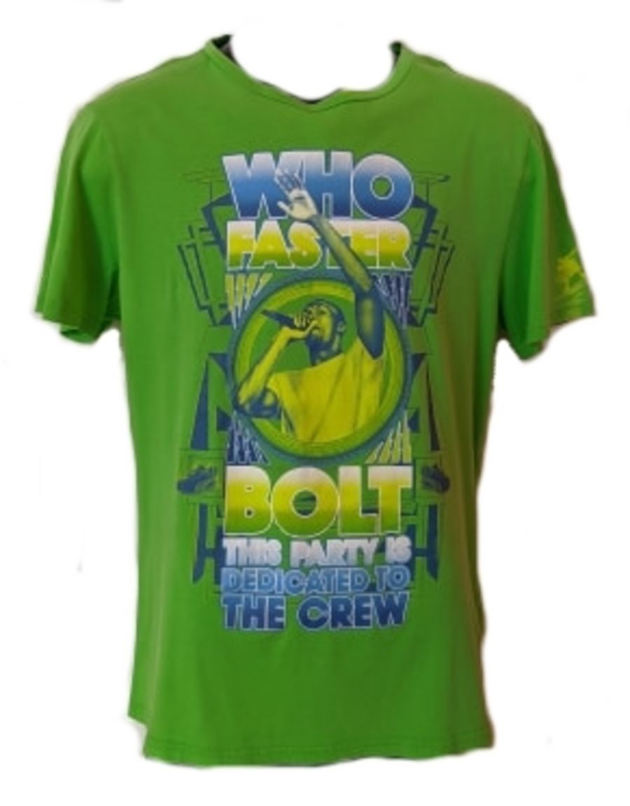 Vintage Y2K Green Puma Usain Bolt Sports T-Shirt