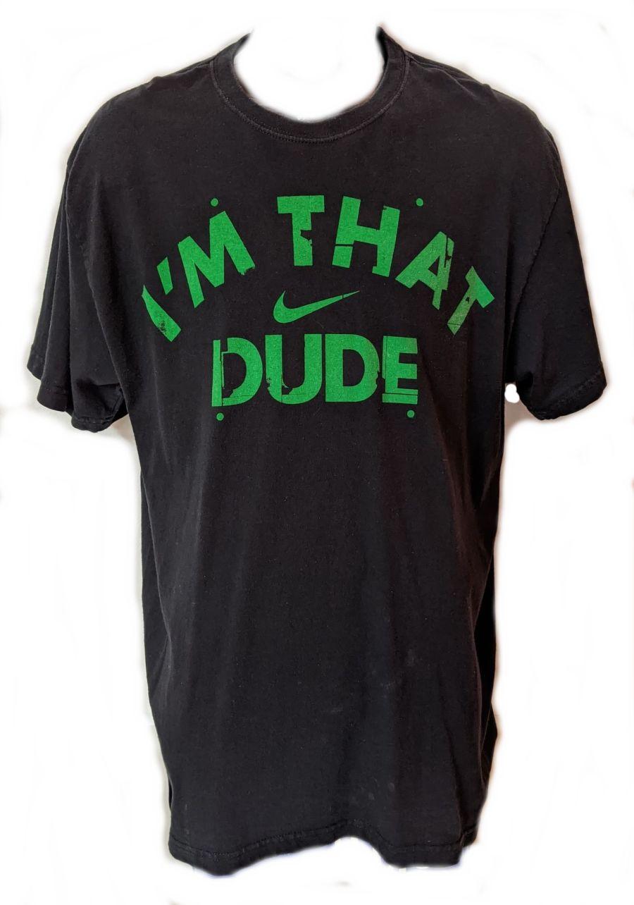 Vintage 90s Classic Nike Logo 'Im That Dude' Black Sports T-Shirt