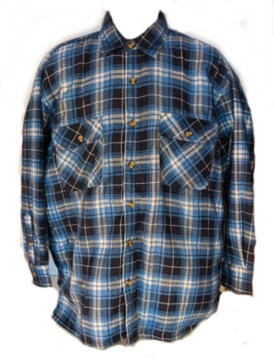 Vintage 90s Grunge Padded Blue Flannel Checked Shirt