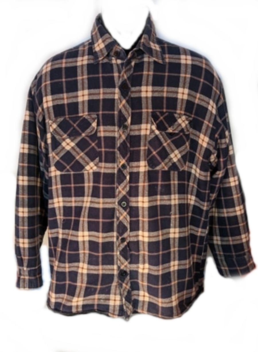 Vintage 90's Grunge Padded Blue and Brown Checked Flannel Shirt