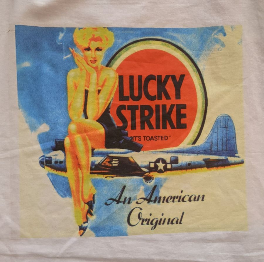Vintage Lucky Strike Print Reusable Tote Bag