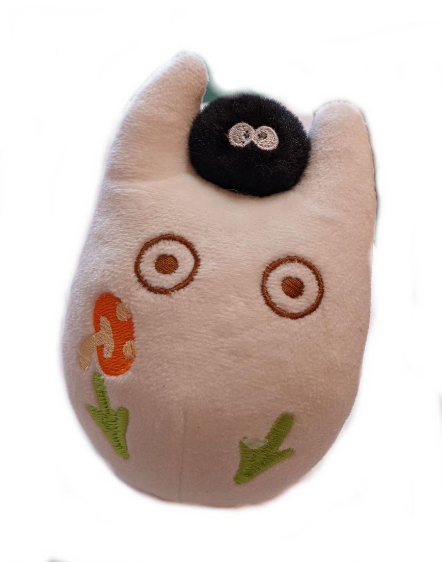 Kawaii Chibi Totoro With A Soot Sprite Plush Keyring