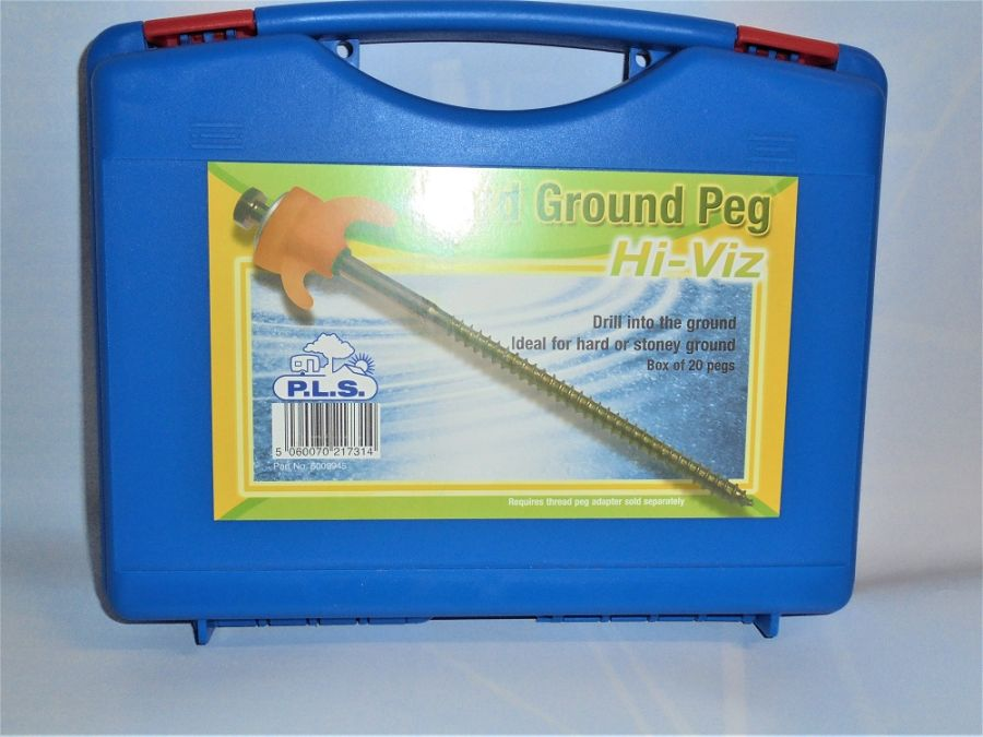 PLS Hi-Viz Hard Ground Pegs - Drill Type - Box Of 20