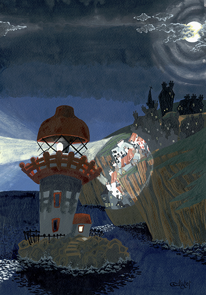 Night at the Lighthouse Greetings Card