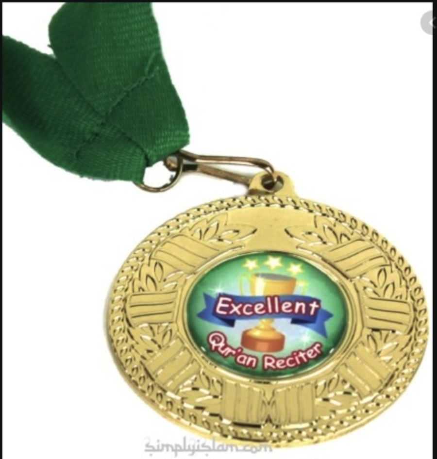 Quran reciter gold medal (green)