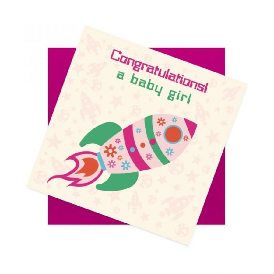 Baby Girl Card - Rocket