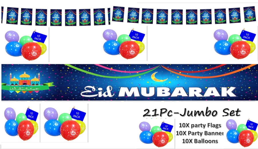 Eid Mubarak- Party Decorations Banner Balloons Flags Buntings 2018
