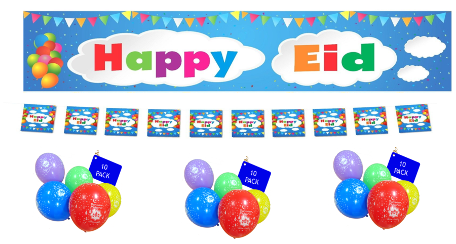 HAPPY EID- Banner, Balloons ,Flags Buntings- 2018