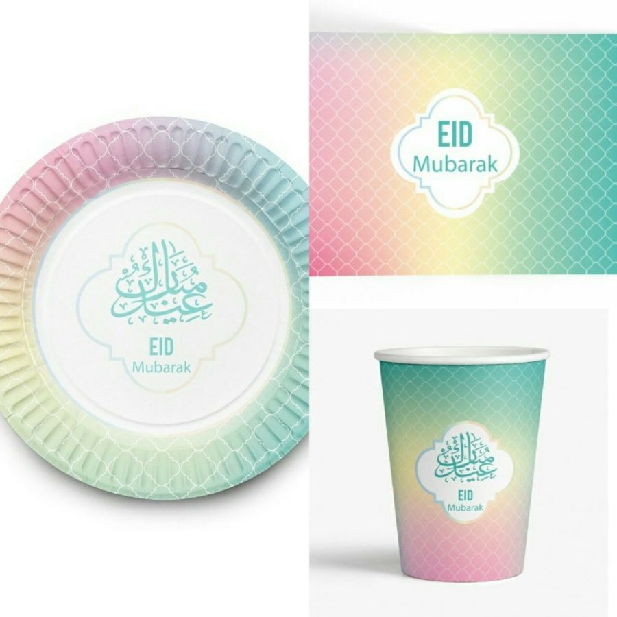 Eid MubarakTableware Set( Pastel)-Cups Plates And Placemats