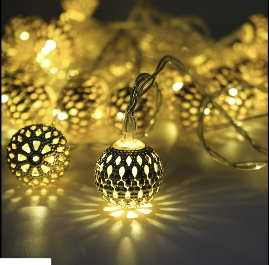 10 SILVER ORNATE BALL BATTERY OPERATED LED FAIRY LIGHTS