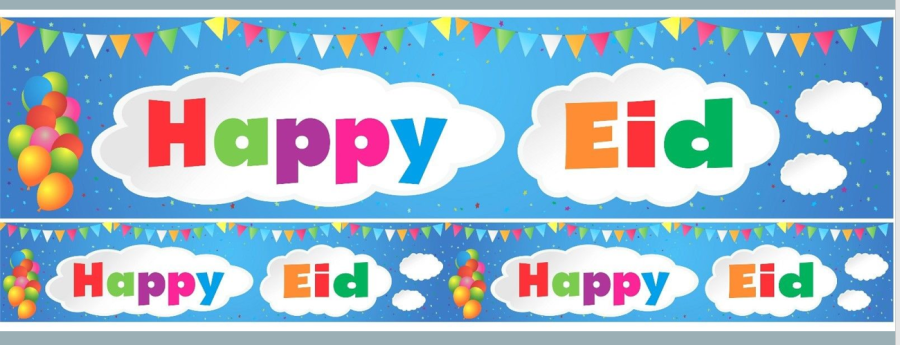 HAPPY EID DOUBLE BANNER (CLOUDS) 2018