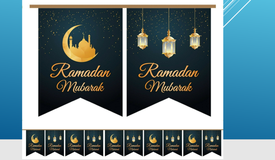10 X Ramadan Mubarak Flags Lantern (Black/Gold)