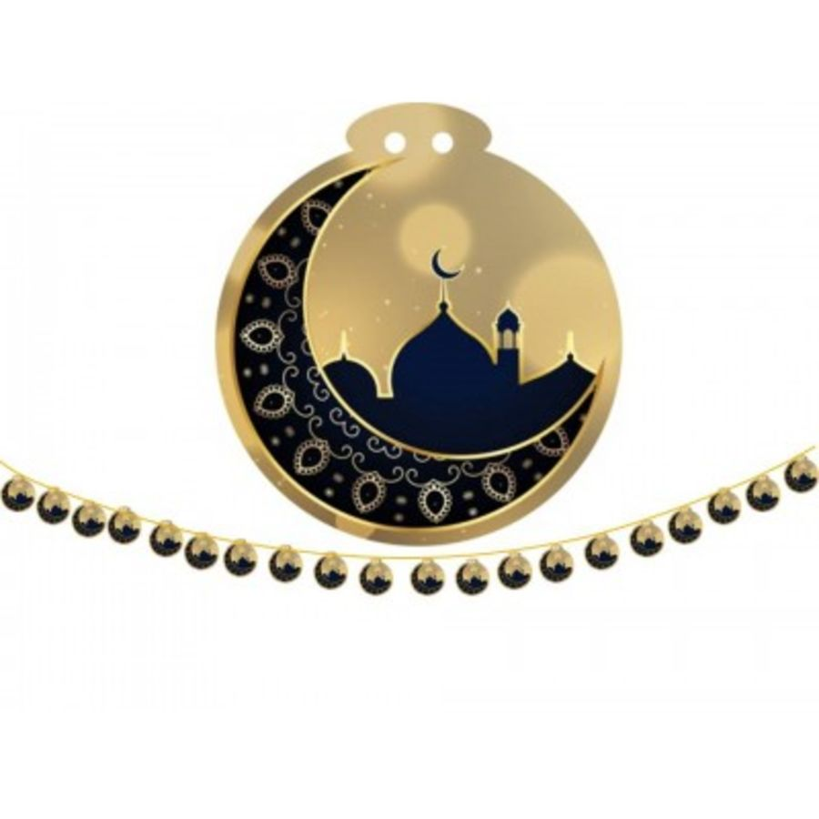 MOON AND MOSQUE-BLACK &GOLD SMALL (20)