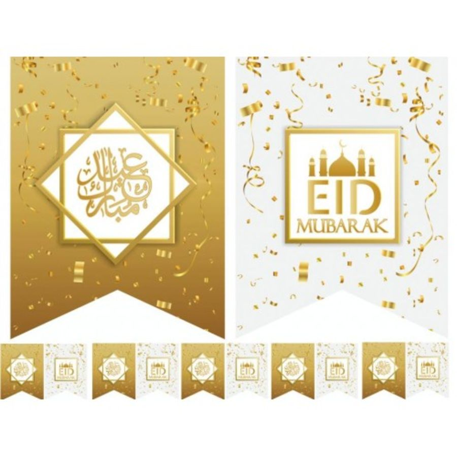 10X FLAGS EID MUBARAK WHITE &GOLD