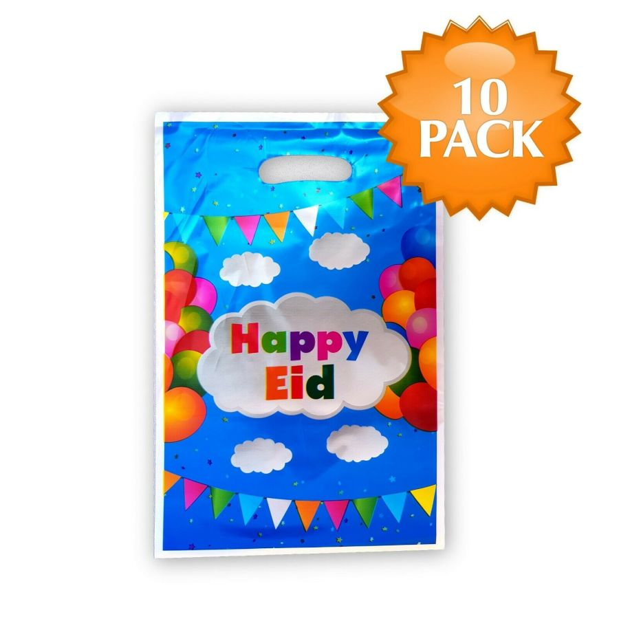 10XHappy Eid Gifts Bags ((Clouds)
