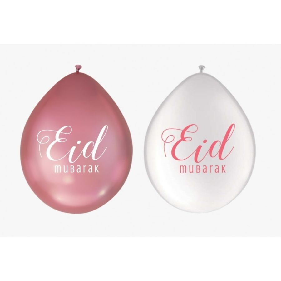 Eid Balloons White/pink (10 pack)