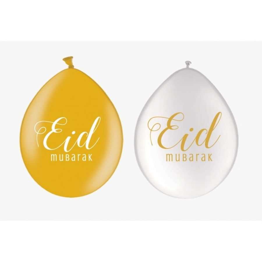 Eid Balloons White/gold (10 pack)