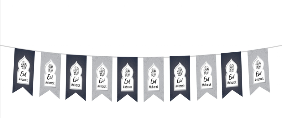 Eid Mubarak Flags (Dark Blue & Silver) 2020
