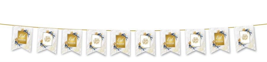 Eid Mubarak Flags (White & Gold Marble) 2020