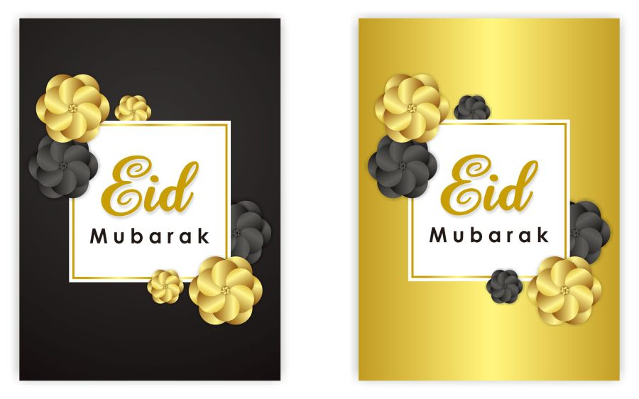 Eid Mubarak Cards (BLACK & GOLD Flowers) 2020