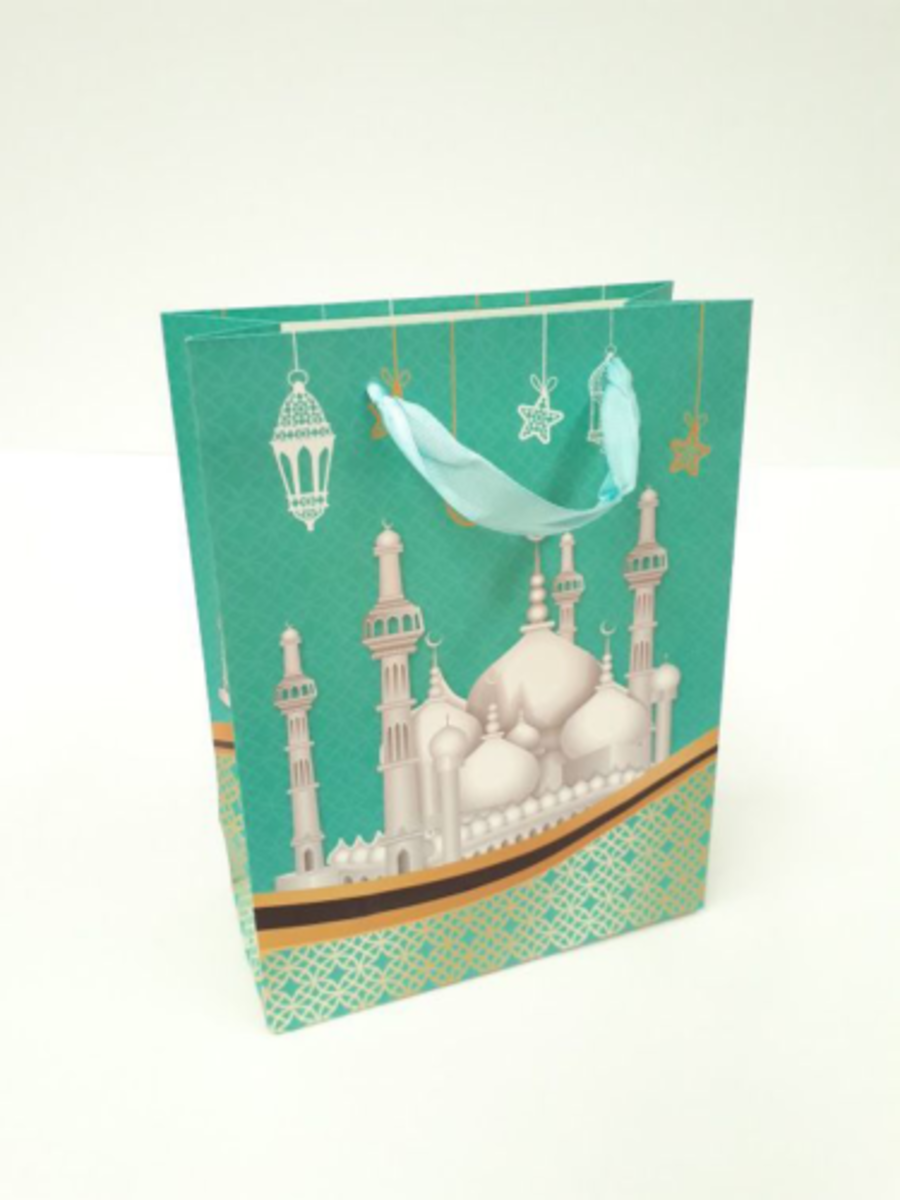 Gift Bag Mosque Design Large (Turquoise