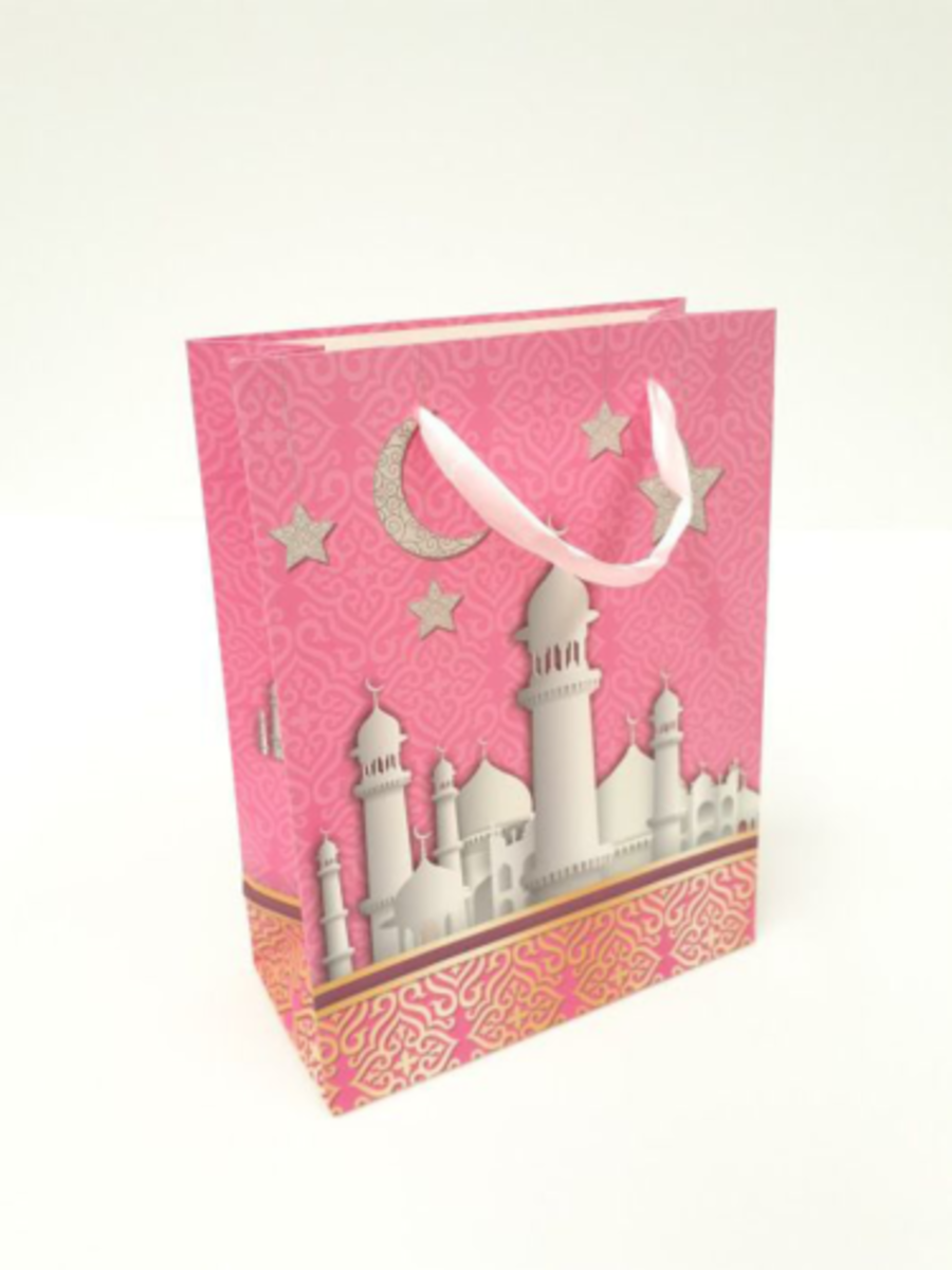 Gift Bag Mosque Design Large (Pink)