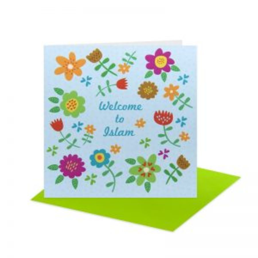 Floral Welcome To Islam Card