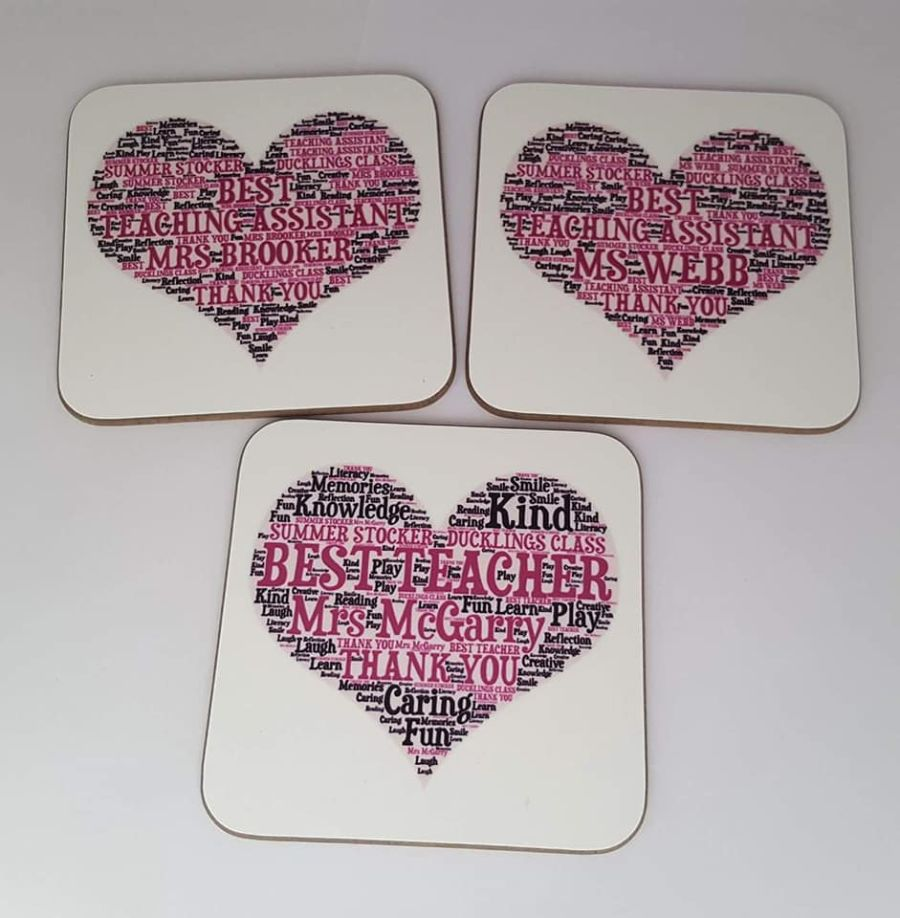 Teacher coaster - Word Art Design