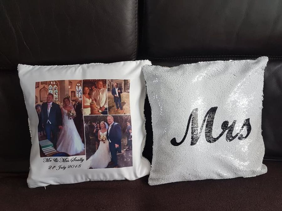 Mr & Mrs Personalised sequin cushions