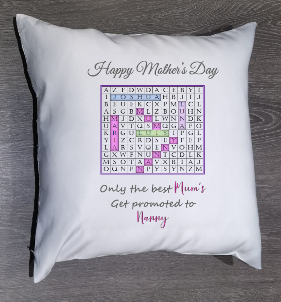 Personalised word search Mother's day cushion