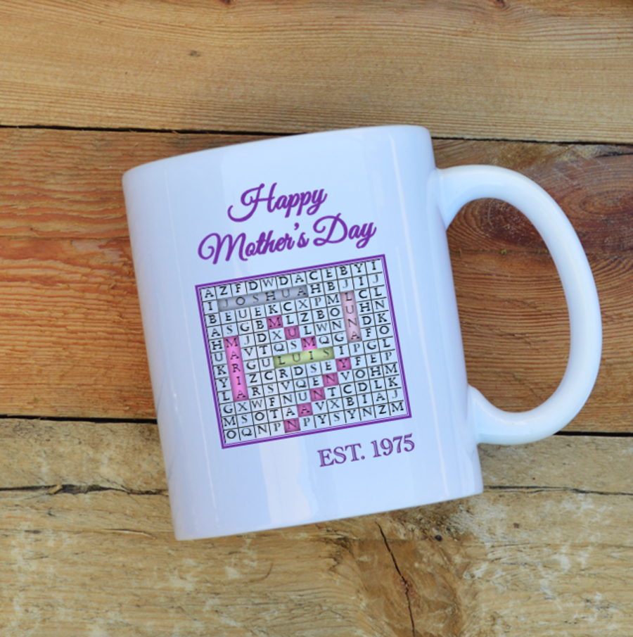 Personalised word search Mother's day mug