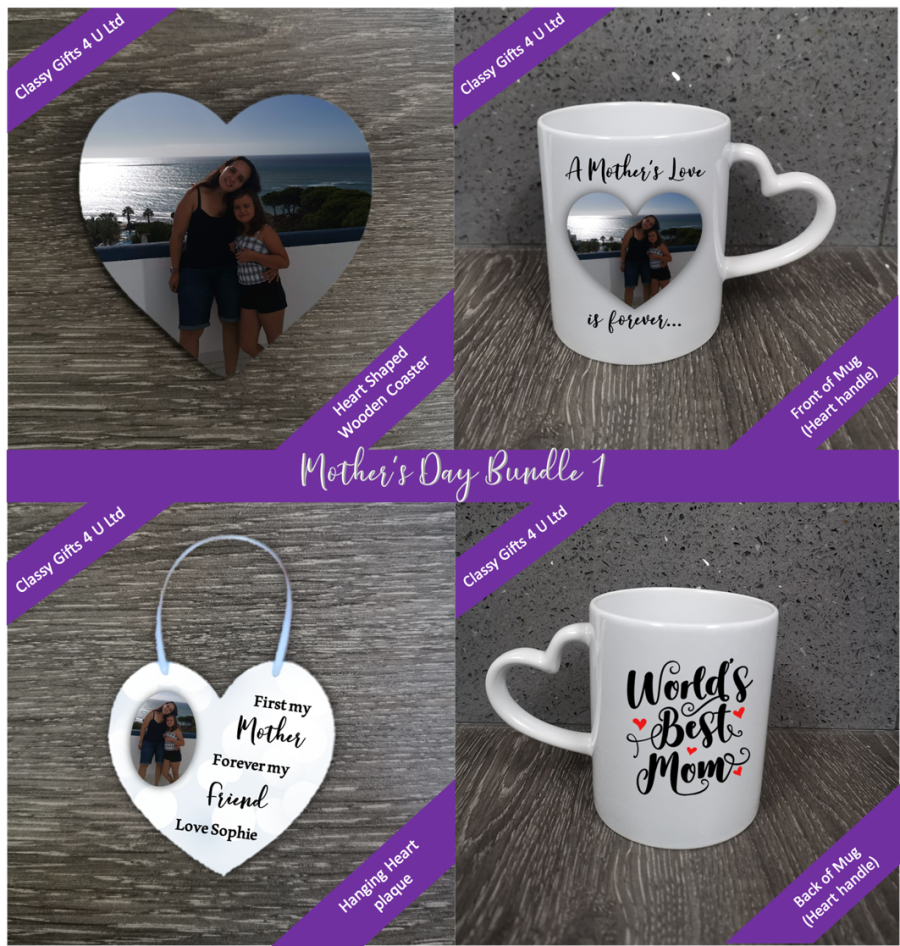 Mothers Day Personalised Bundle 1 - Personalised mug (heart handle) - personalised heart coaster - personalised heart hanging plaque