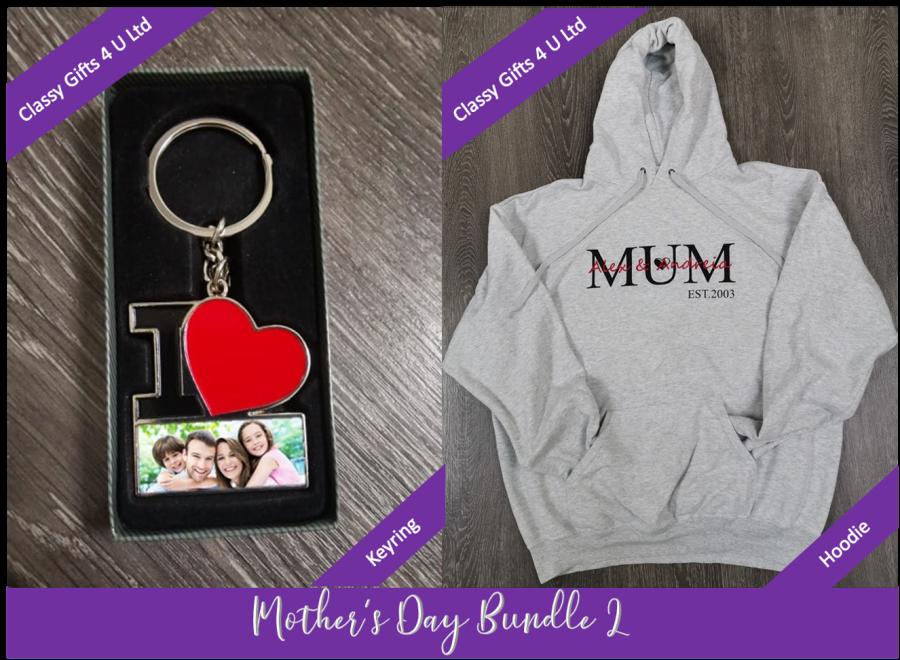 Mother's Day Personalised bundle 2 - Personalised Hoodie & Personalised Keyring