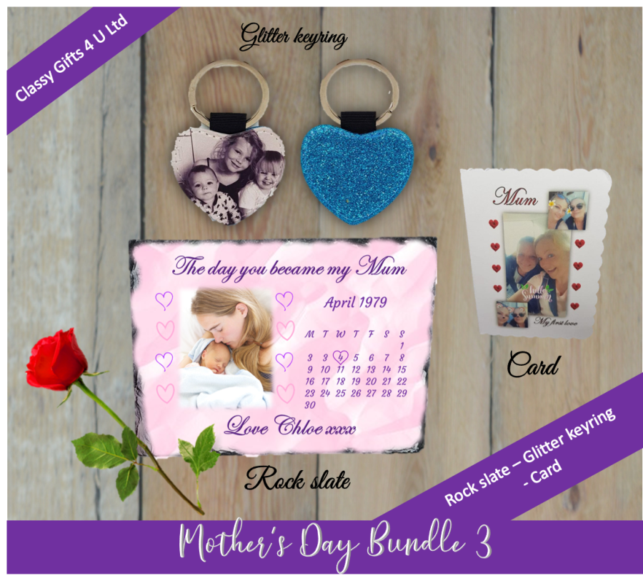 Mother's Day Personalised bundle 3 - Personalised rock slate - personalised card - personalised glitter keyring