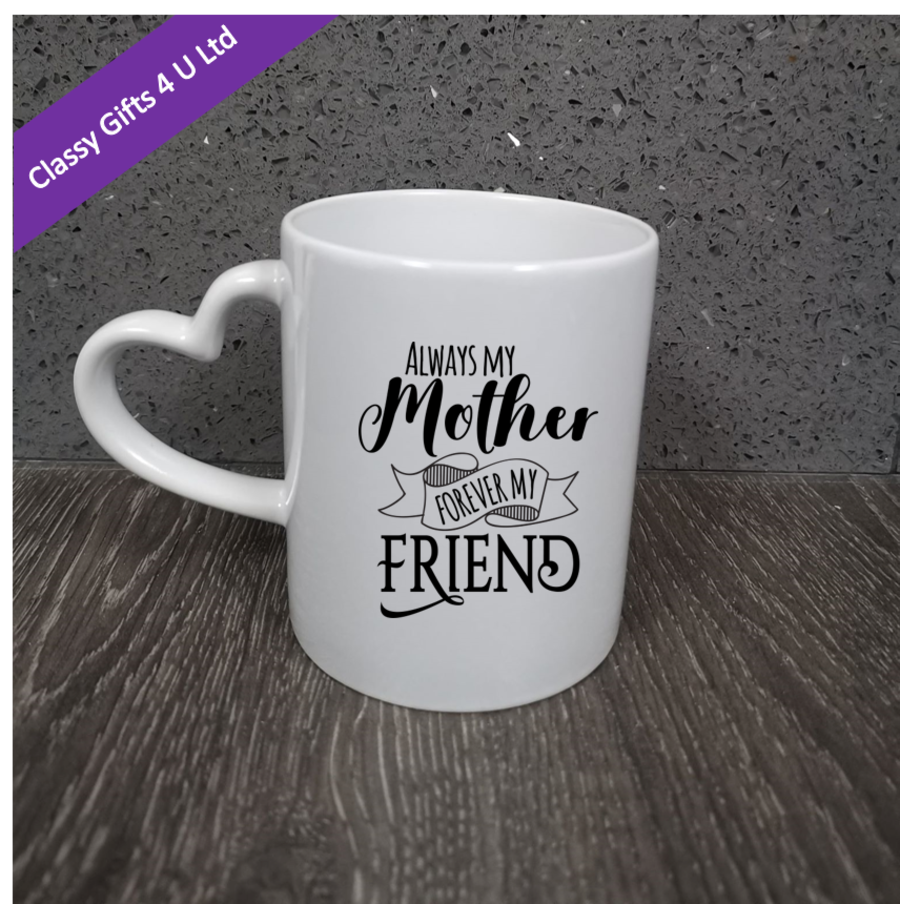 Personalised photo mug with heart handle (message on one side, photo on the other) -