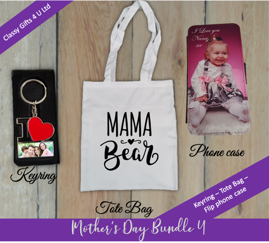 Mother's Day Personalised bundle 4 - Personalised keyring - Mama Bear Tote Bag - Personalised flip phone case