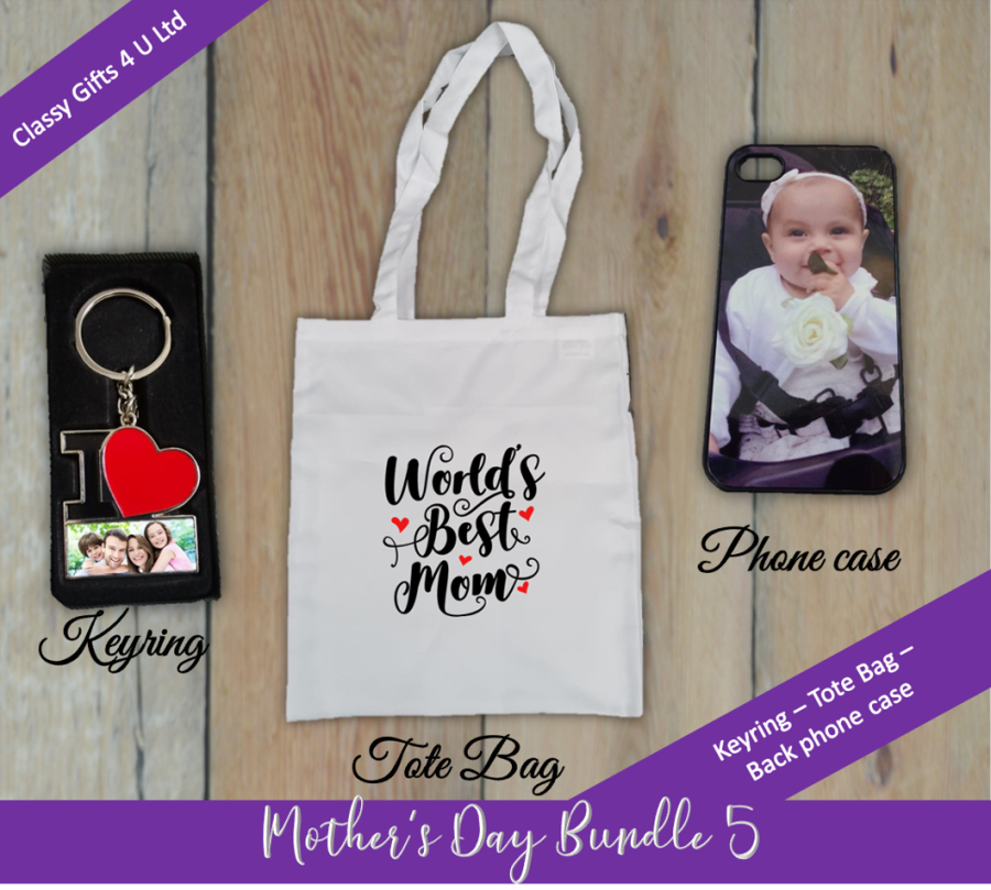Mother's Day Personalised bundle 5 - Personalised keyring -World's Best Mom Tote Bag - Personalised Back phone case