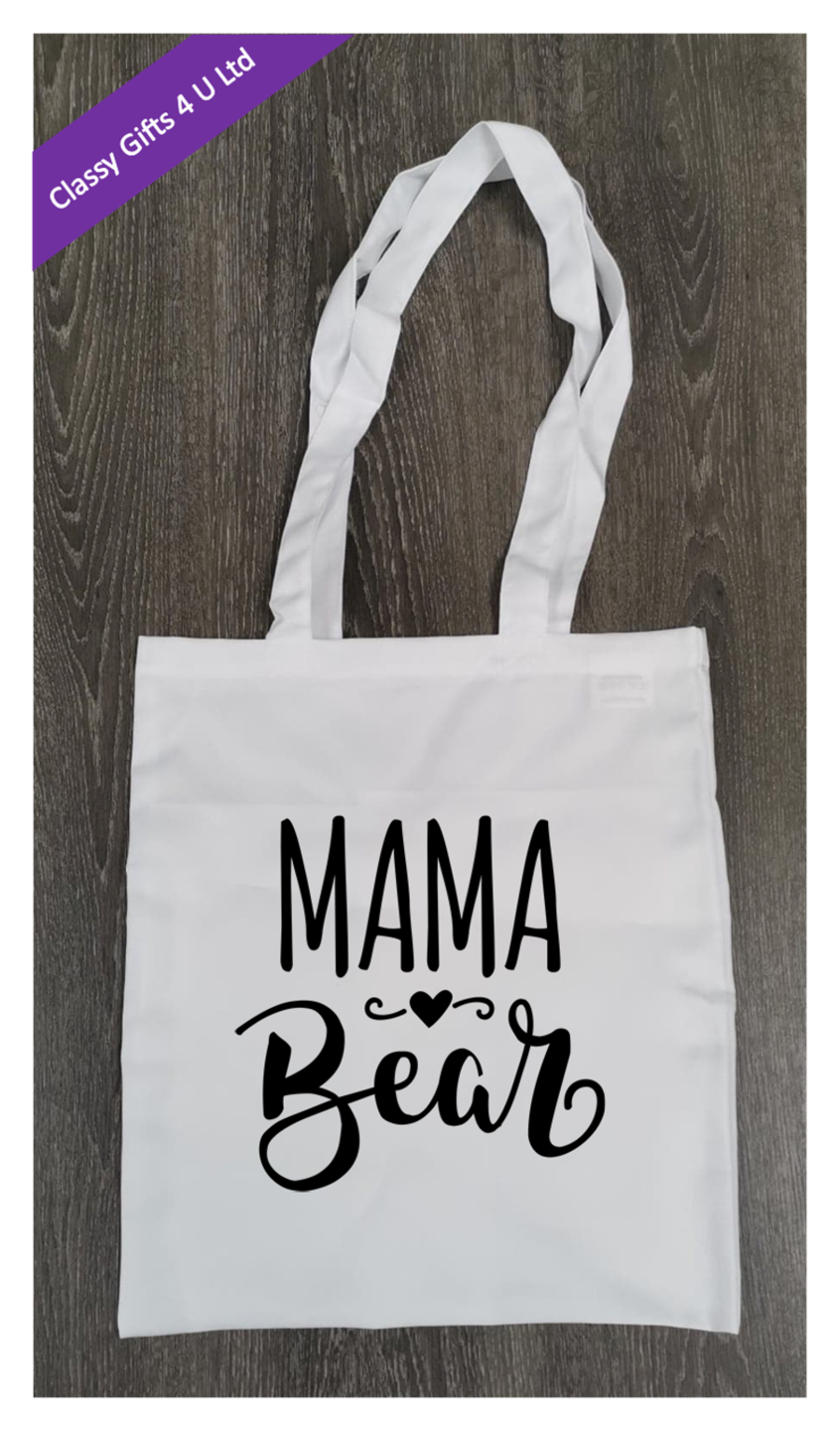 Long Handle canvas tote bag - Mama Bear