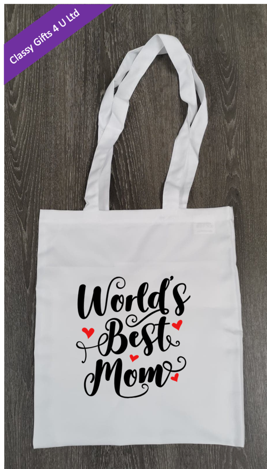 Long Handle canvas tote bag - World's Best Mom
