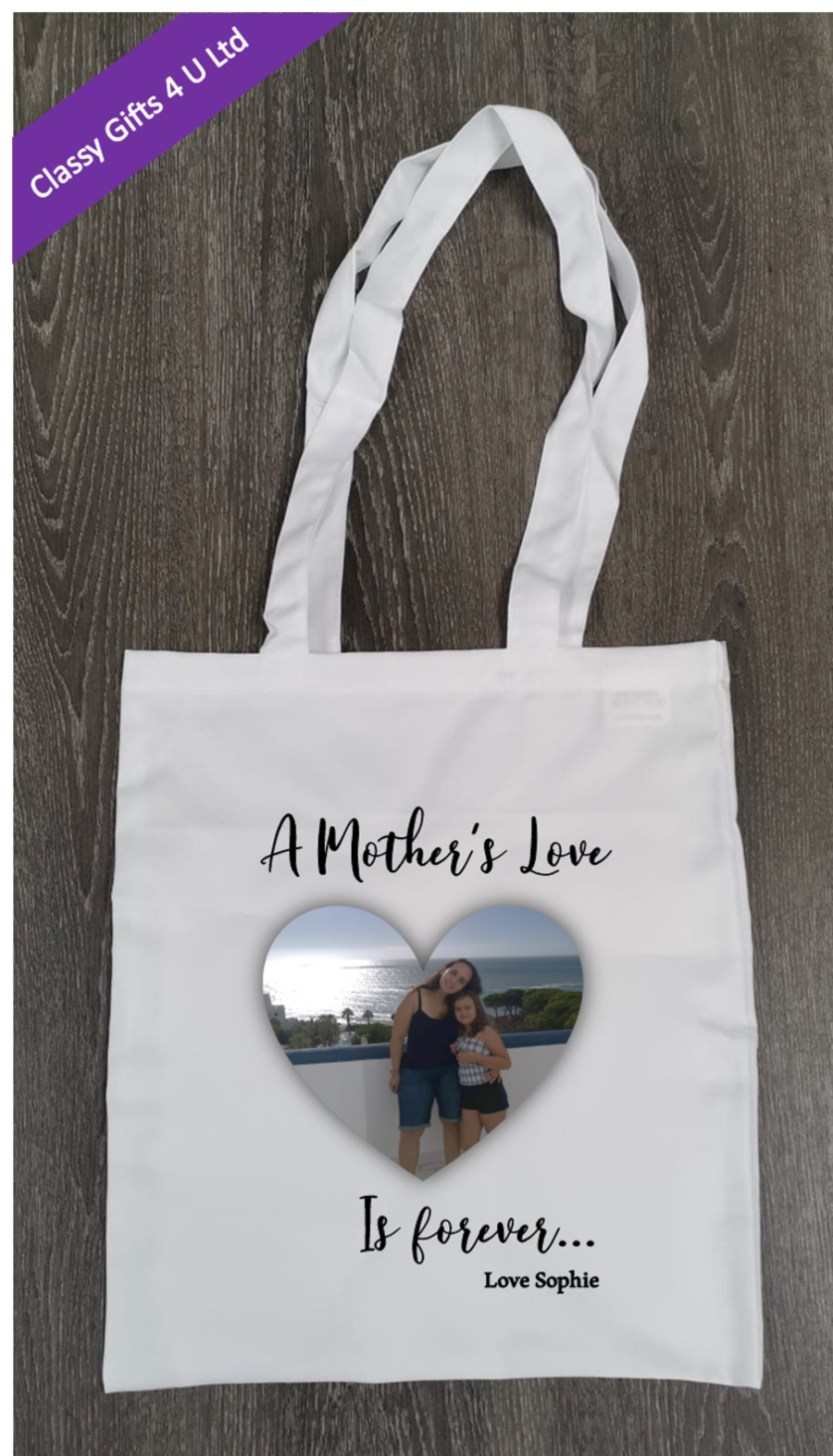 Long Handle canvas tote bag - Personalised on both sides with photo and message