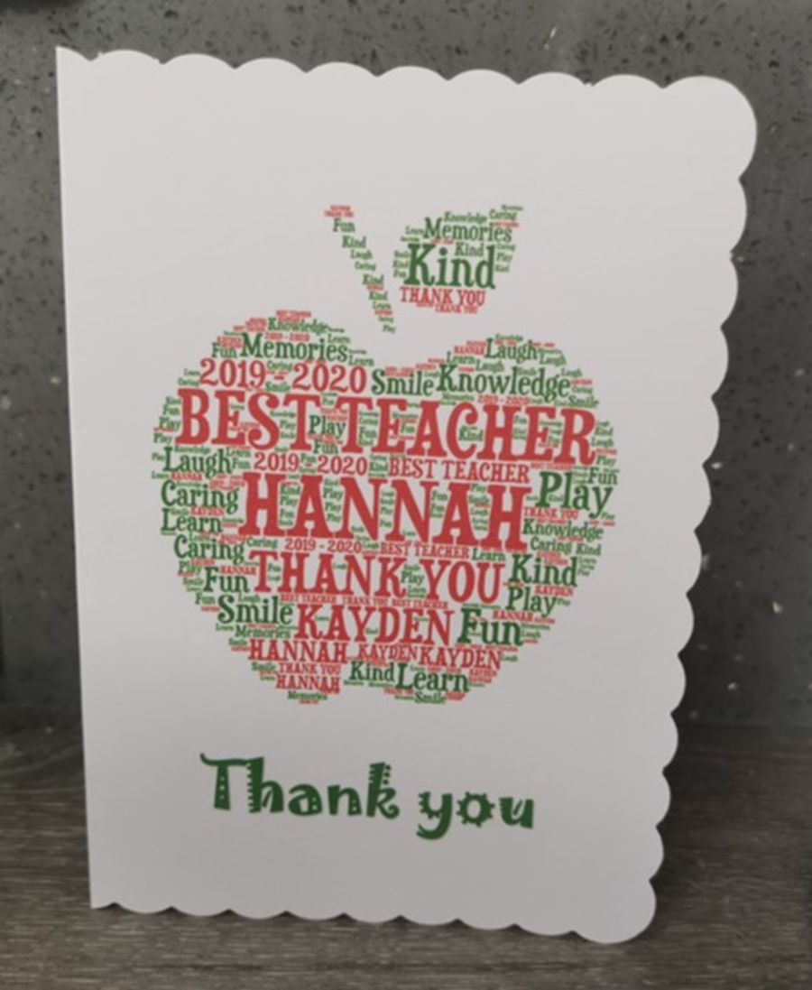 Teacher card - Personalised Word Art Design