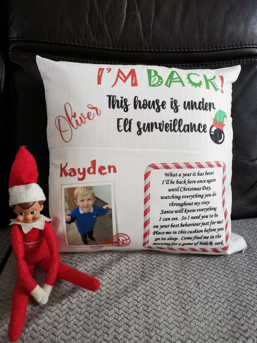 Personalised Christmas Elf arrival cushion