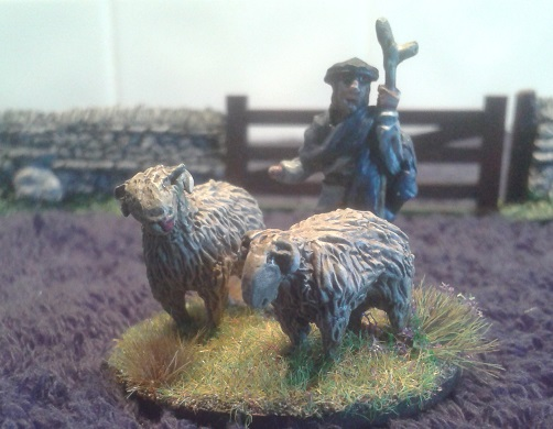 BR23 Shepherd and two sheep