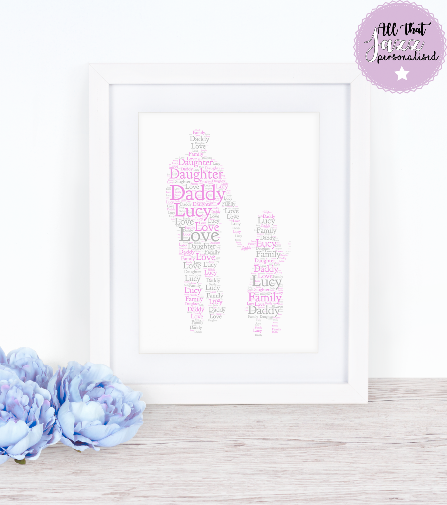 Personalised Daddy and Daughter Word Art Print