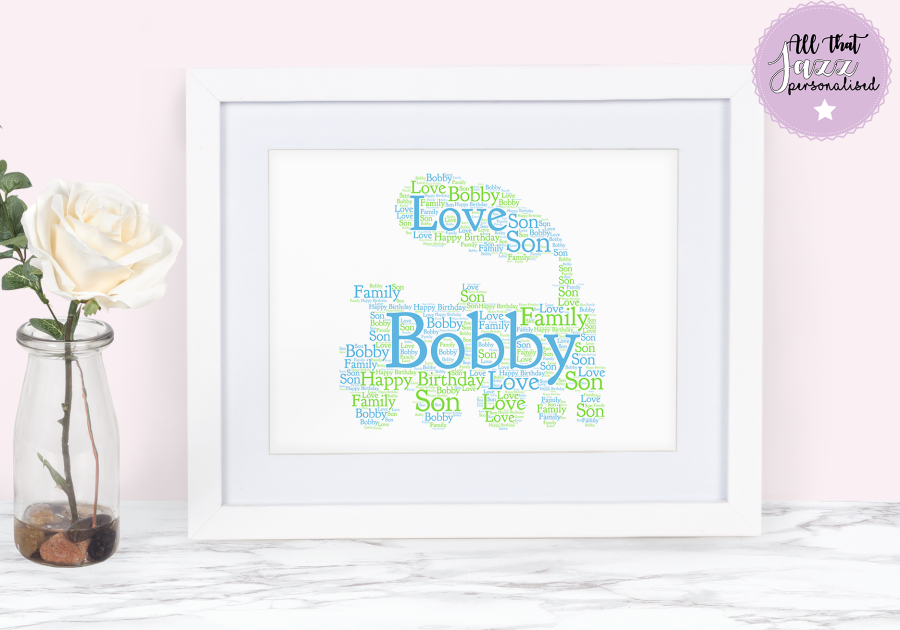 Personalised Children's Train Word Art Print