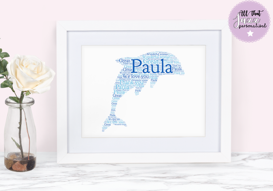 Personalised Dolphin Word Art Print