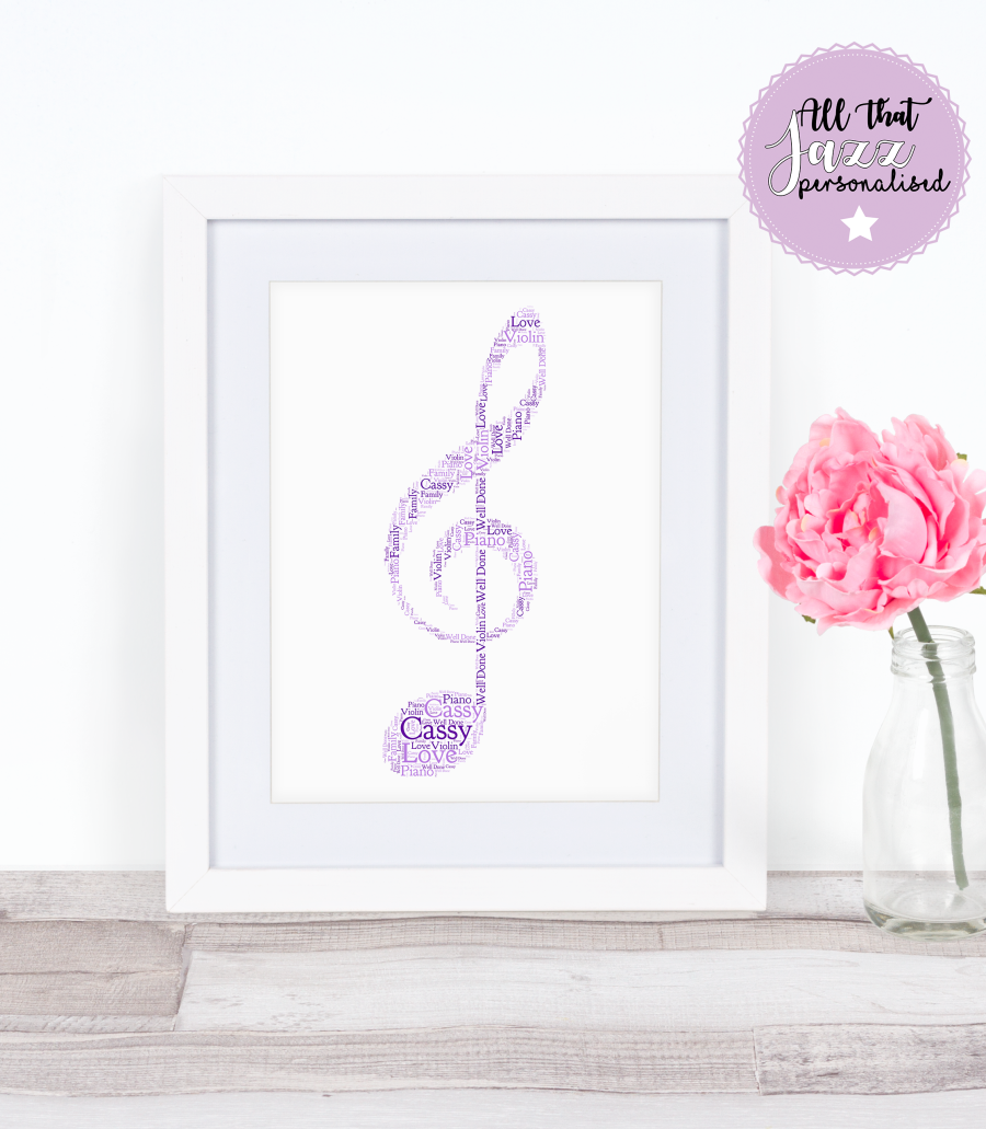 Personalised Music Note Musician Piano Violin Word Art